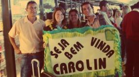 Greeting Carolin Dippel at GRU Airport. August 2009