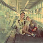 With my mom Luzia, at the ATH Airport, April 2012