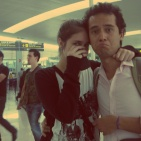 The end of my backpacking trip, at the BNC Airport with Babi Dias, May 2012